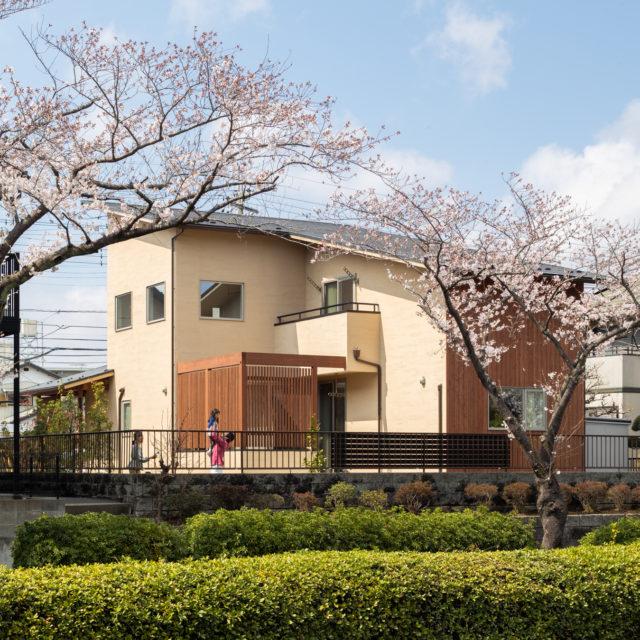 桜並木に佇む家